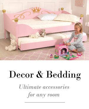 Children's beds and bedding accessories for boys and girls.
