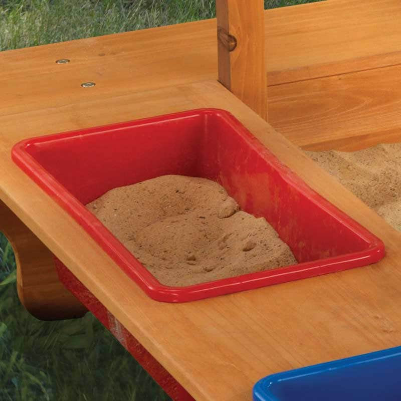 2 plastic sand and water bins