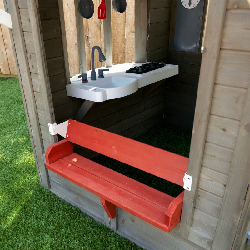 Articulating inside-outside bench with overhead pergola
