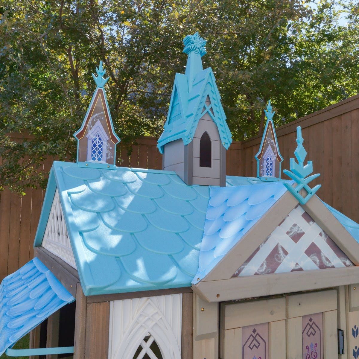 Plastic roof spires designed to reflect the aesthetic of Arendelle castle