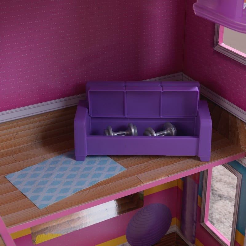 Newly designed furniture: bed with trundle for sleepovers, couch with storage underneath cushion, desk with flip top for storage