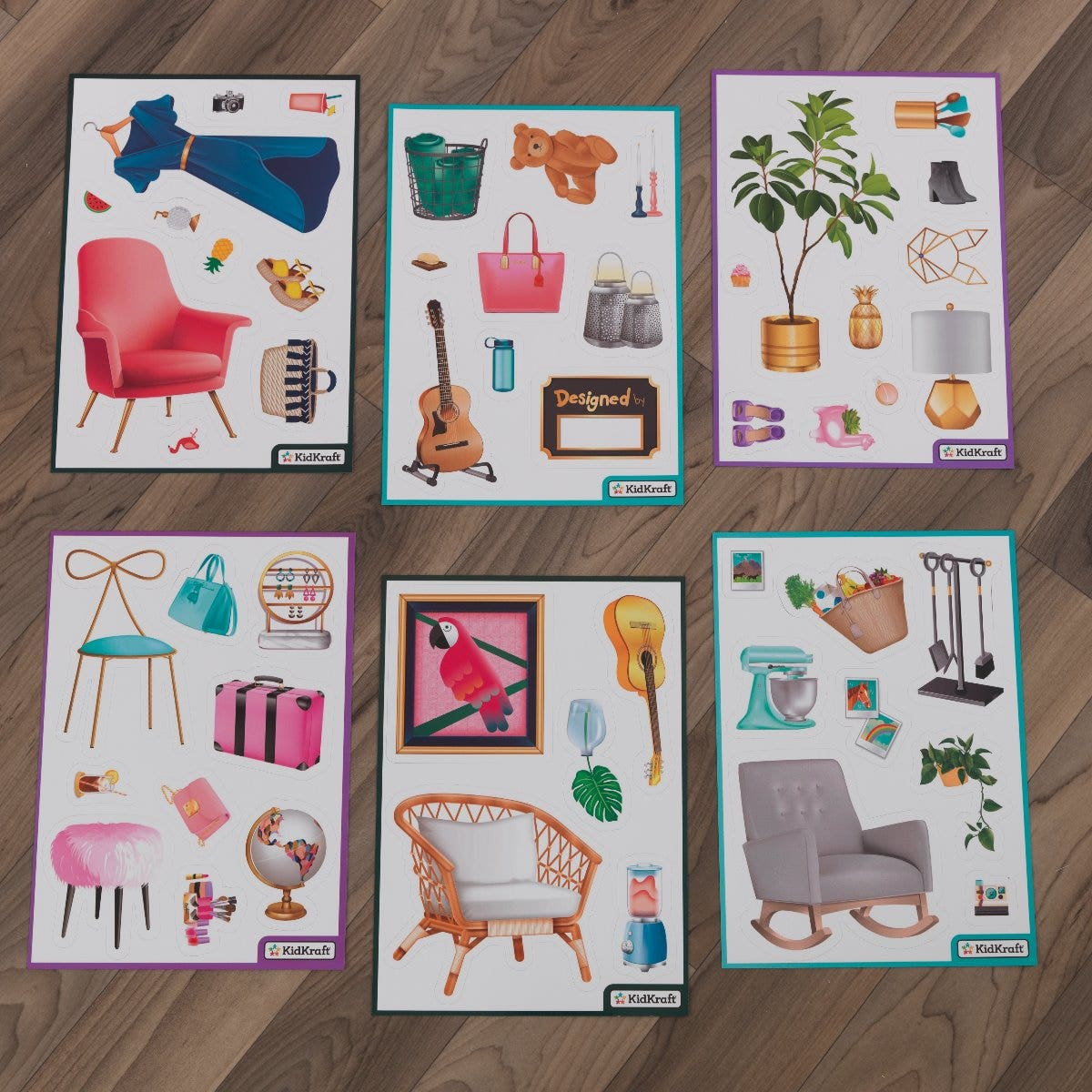 6 magnet sheets with over 50 magnets of different styles and varying accessories