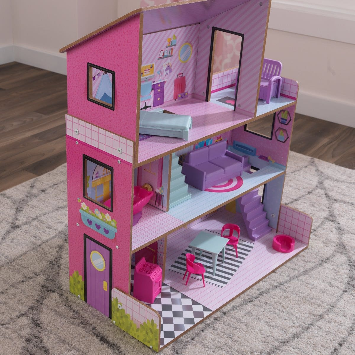 Two staircases for realistic play around the house