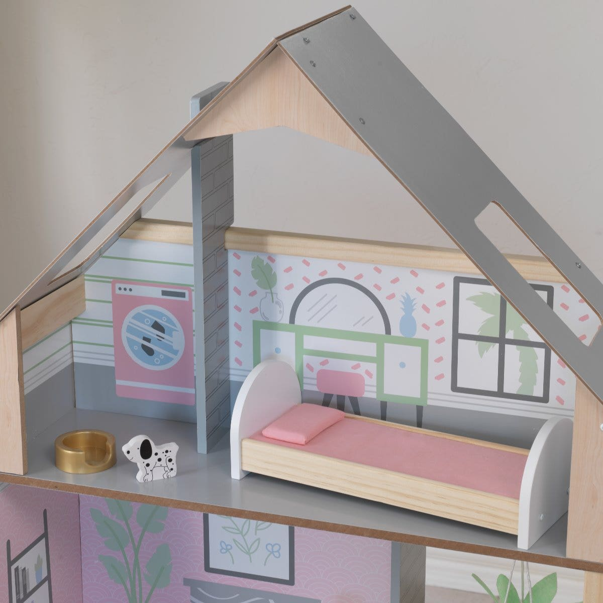 Top floor with skylights for light and an open back for easy play