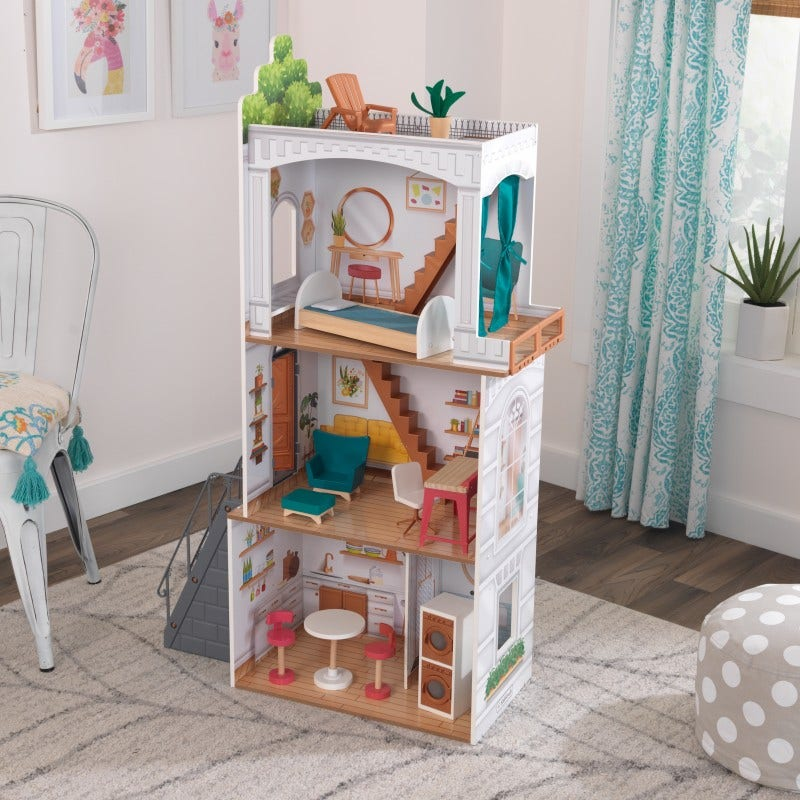 This terraced row-style design is made for discovering, exploring, and creating bigger worlds of play, offering 4 stories, open rooms, and 2 outdoor areas. This townhome play invites imagination, and is made from sturdy wood