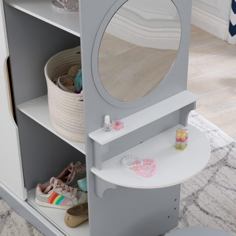 Side vanity with mirror, stool and display shelves