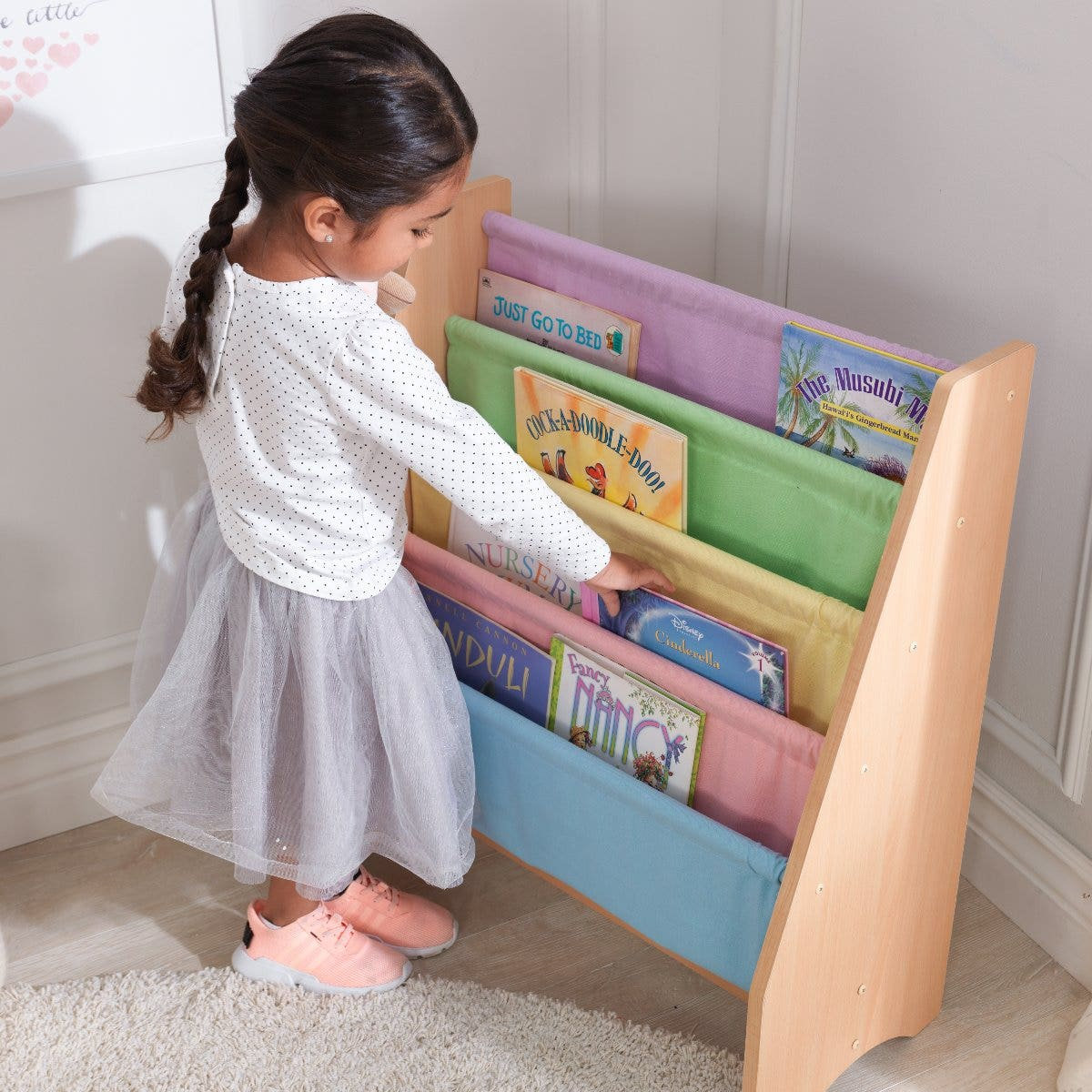 Soft canvas shelves and sturdy wood construction