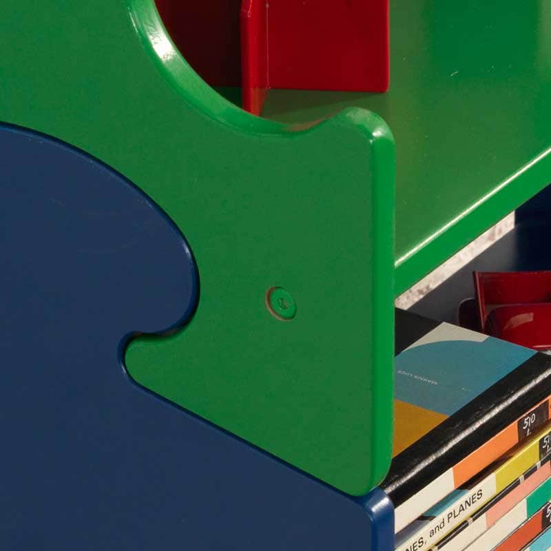 Sides of shelves shaped like puzzle pieces