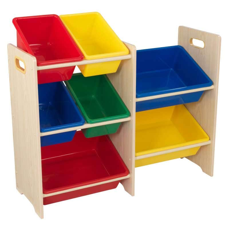 7 separate bins for toys, shoes, and games