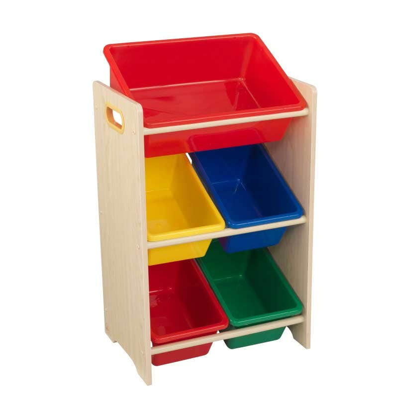 5 separate bins for toys, shoes, and games