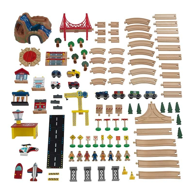 120-piece colorful accessory set featuring vehicles, characters, construction pieces, buildings and more