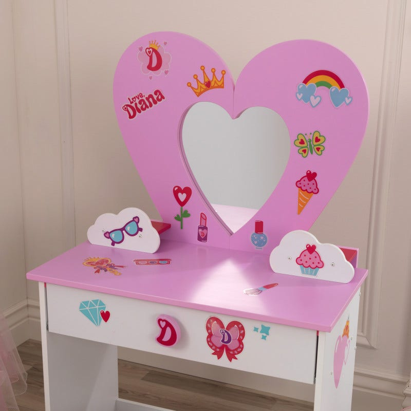 Use the included 2 sheets of reusable cling stickers to decorate the vanity and mirror