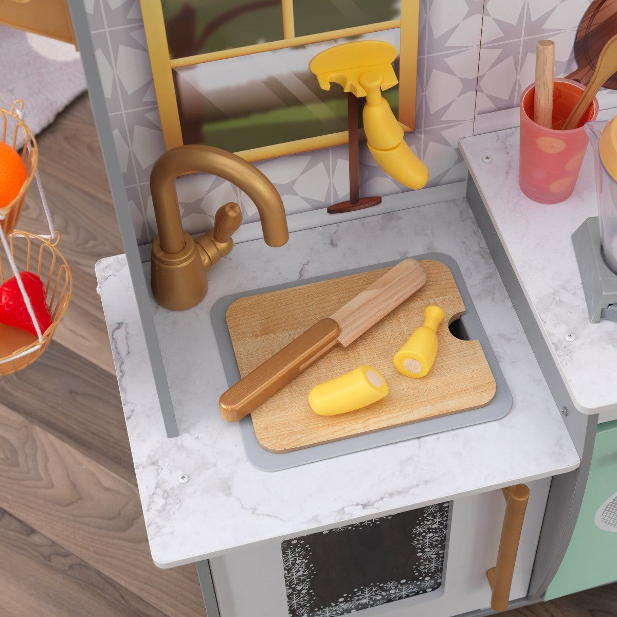 Space-saving cutting board fits over sink; frees up counterspace