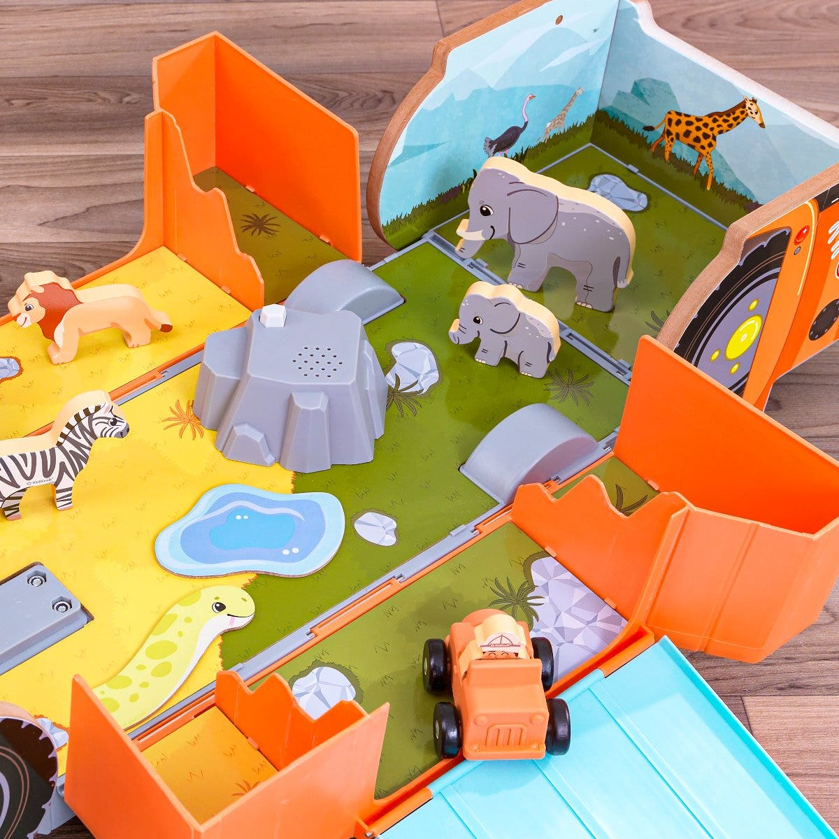 Vivid graphics on the sides and the base of the inside add to the make believe play.