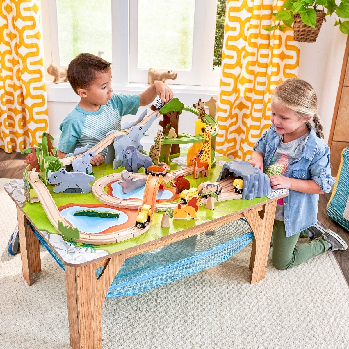 It's a Wild, Wild World: With 55 total pieces, the jungle can really come alive. Wooden track, trees, ponds and plenty of animals help kids create their own adventure.