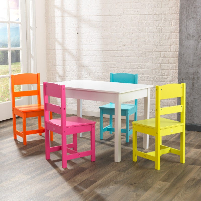 Rectangle table with 4 brightly colored chairs