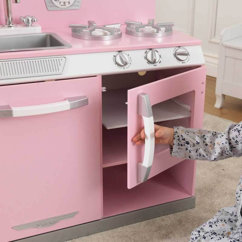 good Kidkraft Pink Retro Kitchen And Refrigerator Play Set Part - 17: Doors on dishwasher, oven, refrigerator and freezer open and close