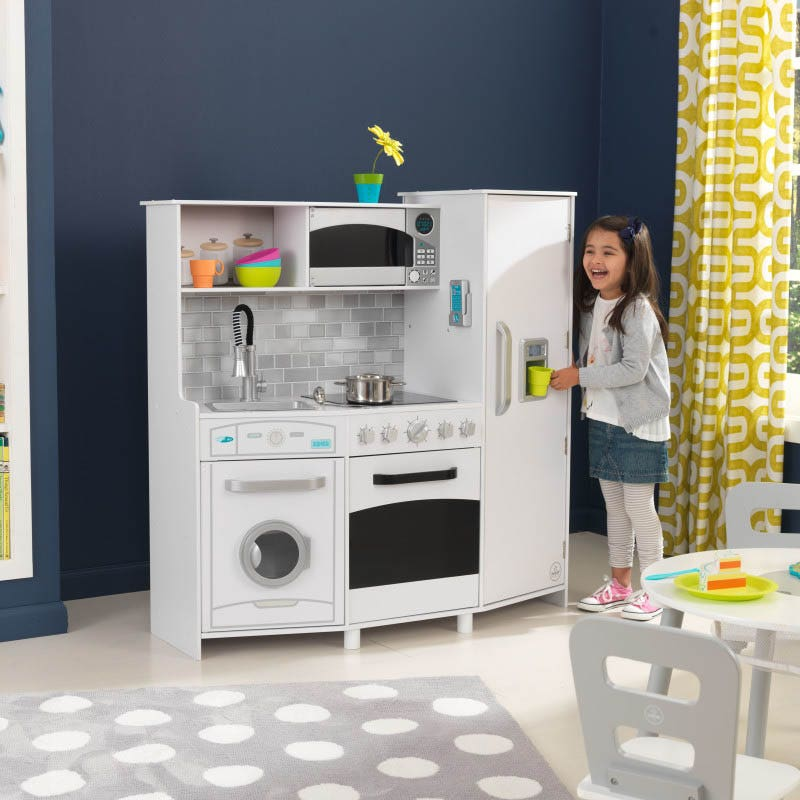Large Play Kitchen With Lights Sounds White