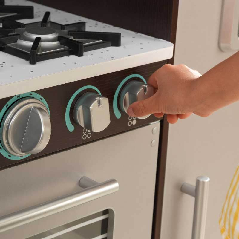 Oven knobs click and turn