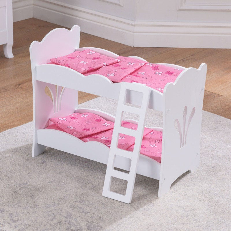This doll bunk bed is a the perfect way to give your dolls the rest they deserve! This bunk bed stands at 17.5