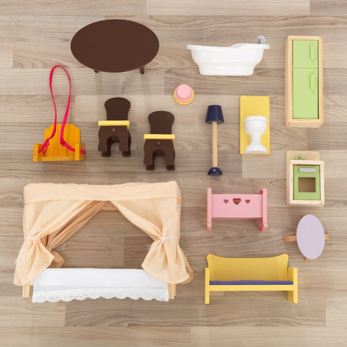 Let your child's creativity flourish with a kit of 14 furniture pieces and home accessories! Your child will explore the creative possibilities of playing with 12-inch dolls in multiple rooms and a working porch swing