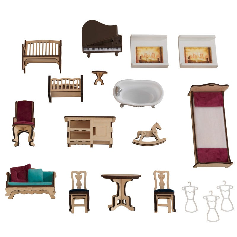 20-piece lifestyle accessory set included such as laser-cut furniture, piano and more
