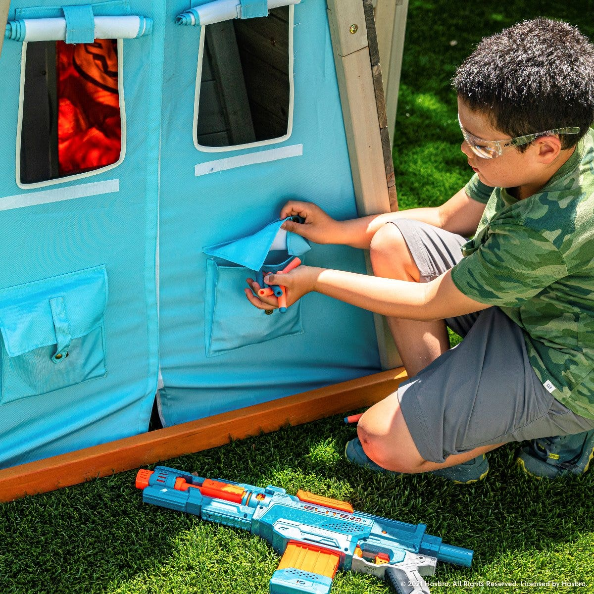 Plastic defense shield lets kids guard themselves from the competition