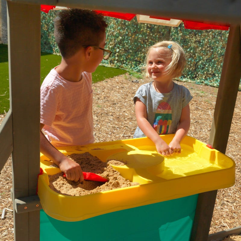 Sand and water table station with canopy