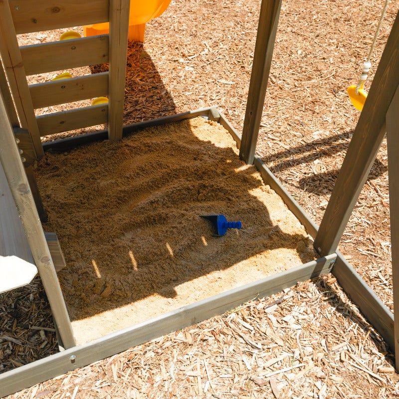 Shaded sandbox and attached picnic table, bench and shaded awning