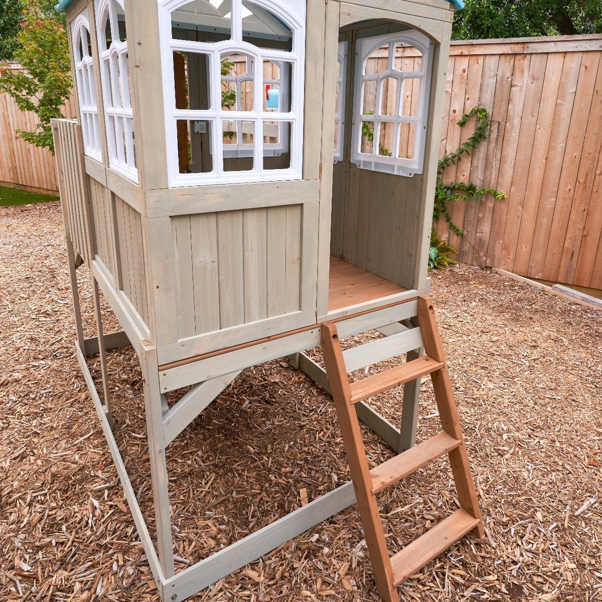 Unique raised playhouse gives kids a feel of a treehouse