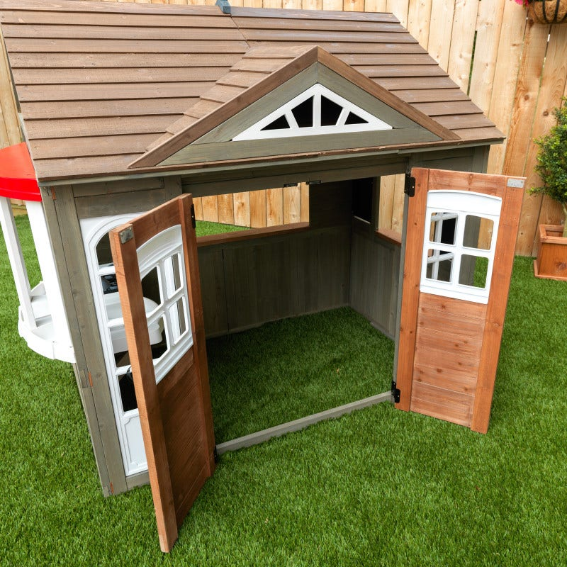 Double doors open to large interior play area