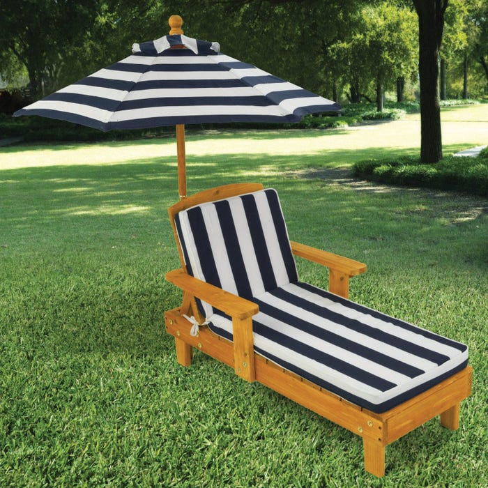 Outdoor Chaise With Umbrella Navy
