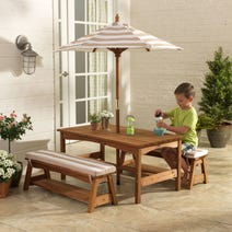 Outdoor Table & Bench Set with Cushions & Umbrella - Oatmeal & White Stripes