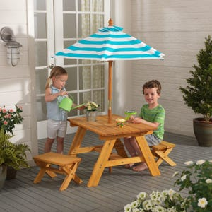 Outdoor Table w/ Benches & Umbrella