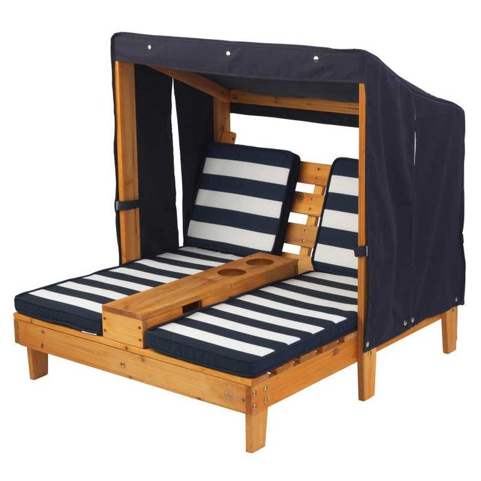 Double Chaise Lounge with Cup Holders - Honey & Navy on kidkraft lounge set, kidkraft rocking chair, kidkraft storage, kidkraft toys, kidkraft bookcase, kidkraft desk, kidkraft high chair, kidkraft wardrobe, kidkraft table,