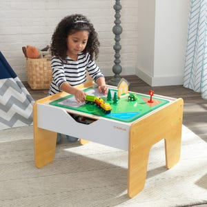 2-in-1 Activity Table with Board - Gray & Natural
