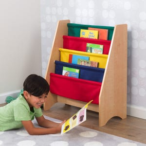 Sling bookshelf -  Primary & Natural