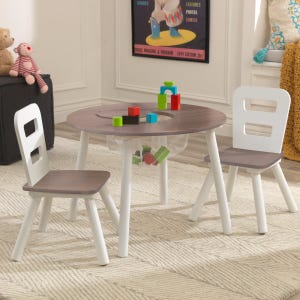 Round Storage Table & 2 Chair Set - Gray