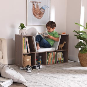 Bookcase with Reading Nook - Gray