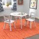 Round Storage Table & 2 Chair Set - Gray & White