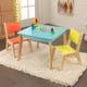 Ensemble table moderne + 2chaises - Couleurs vives