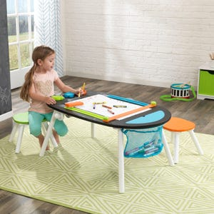 Deluxe Chalkboard Art Table with Stools