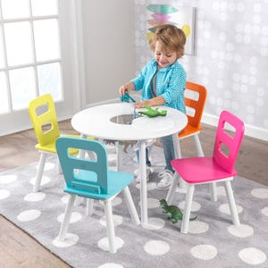 Round Kids Table & 2 Chair Set with Storage -  Brights