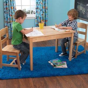 Table rectangle et 2 chaises - Bois naturel