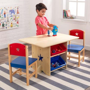 Star Table & Chair Set with Primary Toy Bins