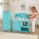 Blue Retro Kitchen and Refrigerator