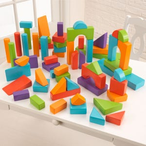 60-piece Wooden Block Set in Bright Colors