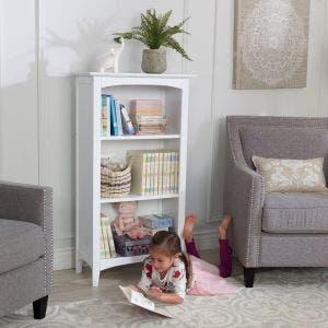 Avalon Three-Shelf Bookcase - White