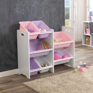 7 Bin Toy Storage Unit - White