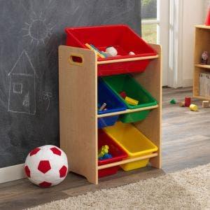 5 Bin Toy Storage Unit - Natural 2